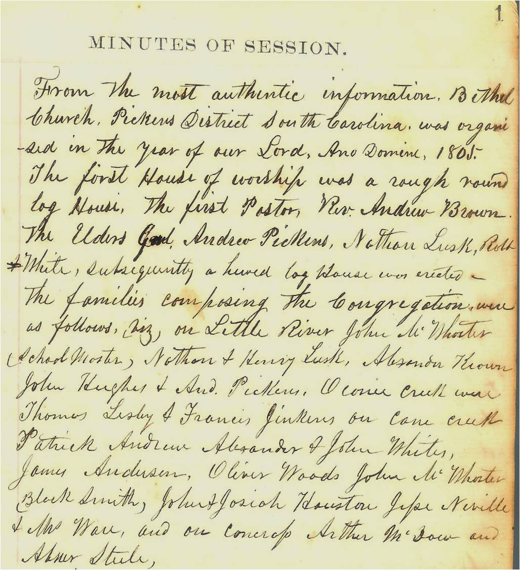 """On the first page of the Minutes of Session book, Samuel McFall wrote down the early history of the church and the names of the founding families. Or to use his words: """"From the most authentic information …."""""""