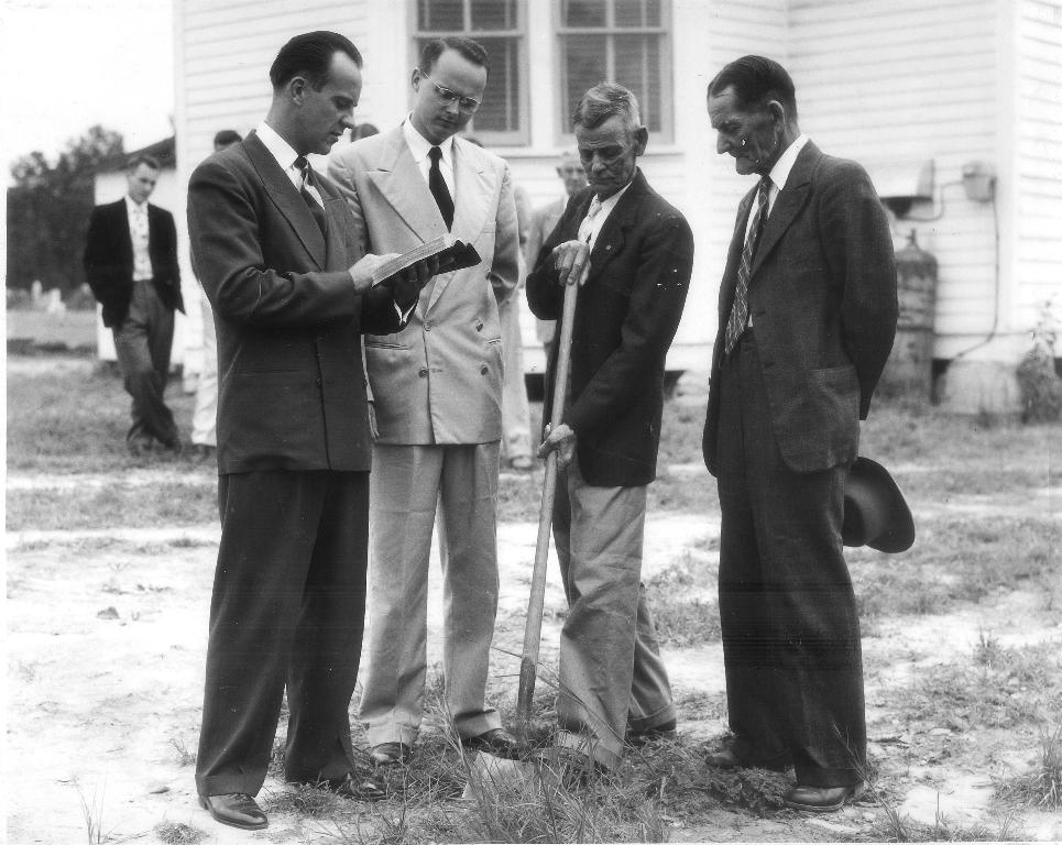 Classrooms Groundbreaking Ceremony, August 24, 1952   L-R: Rev. Ace Tubbs, Rev. Trent Howell Jr., J.J.D. Cowan, Sam Cowan  (Robert Emory Alexander is in the background)   Joseph John David Cowan  was selected to break ground as the member with the longest record of active membership, covering a span of sixty years.