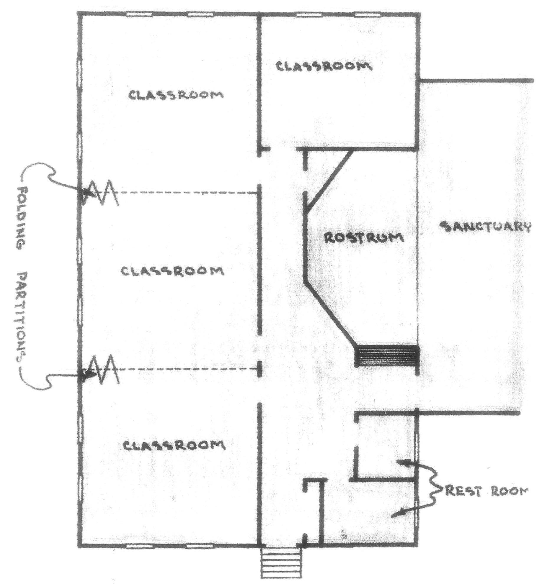 """Floor Plan for the """" Classroom Addition """" drawn by Rev. Trent Howell Jr. during the summer of 1952."""