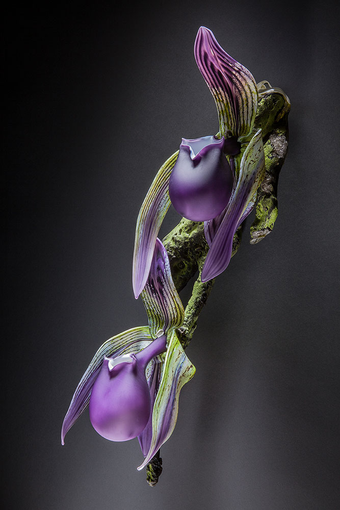 Purple Lady Slipper - Branch Blown and Sculpted Glass