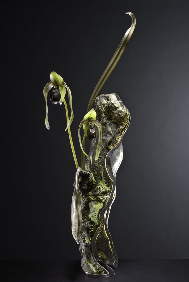 Paphiopedilum Epiphyte Blown and Sculpted Glass 35 x 9 x 9