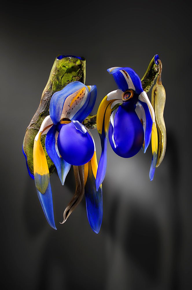 Blue Lady Slippers - Gigantica Blown and Sculpted Glass 19 x 20 x 11