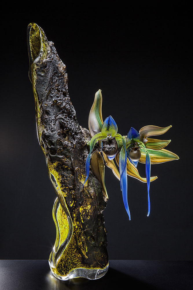 Blue Lady Slipper - Host Blown and Sculpted Glass 26 x 15 x 9