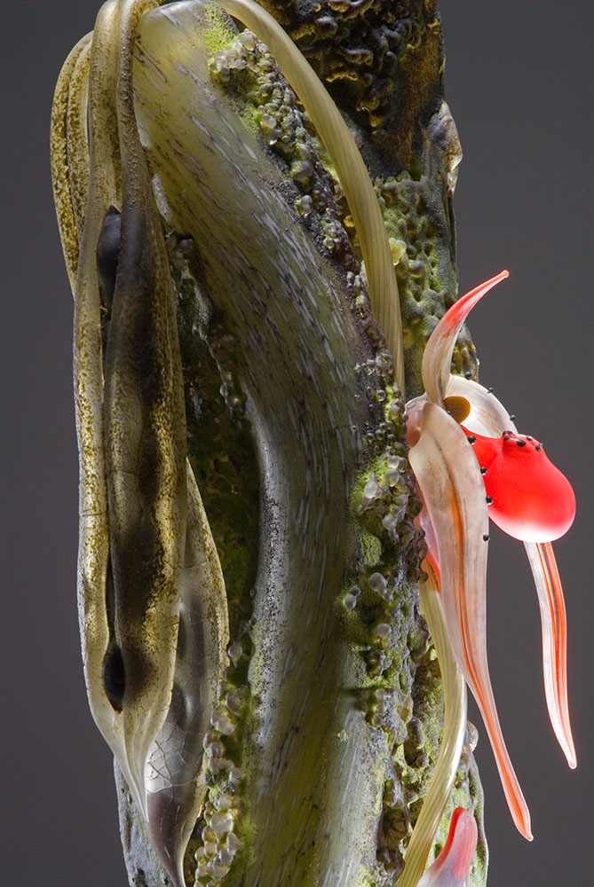 Host XVI - Red Lady Slipper Blown and Sculpted Glass 27 x 7 x 7