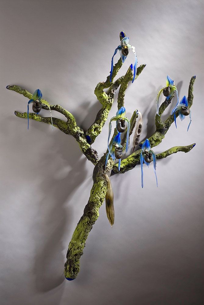 Blue Orchid Tree Blown and Sculpted Glass 42 x 35 x 10