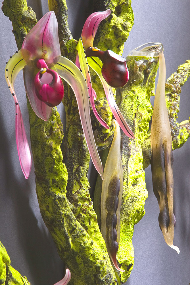 Pink Lady Slipper - Orchid Tree Blown and Sculpted Glass 62 x 43 x 8