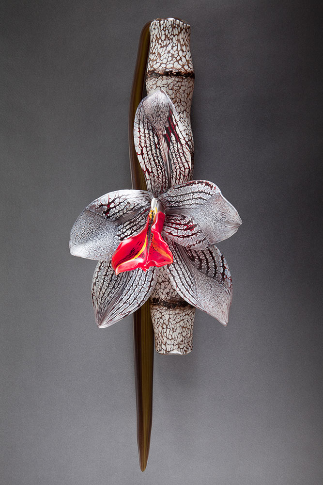 Red Moth Orchid Blown and Sculpted Glass 24 x 9 x 6