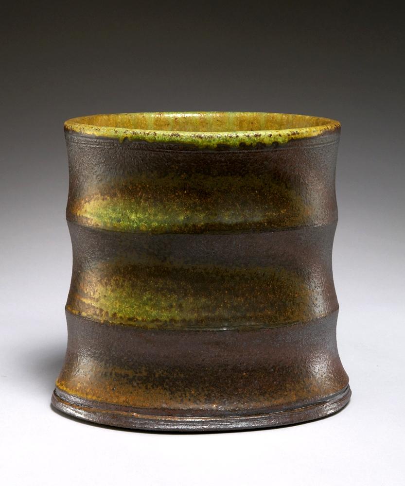 Oval ridged vase