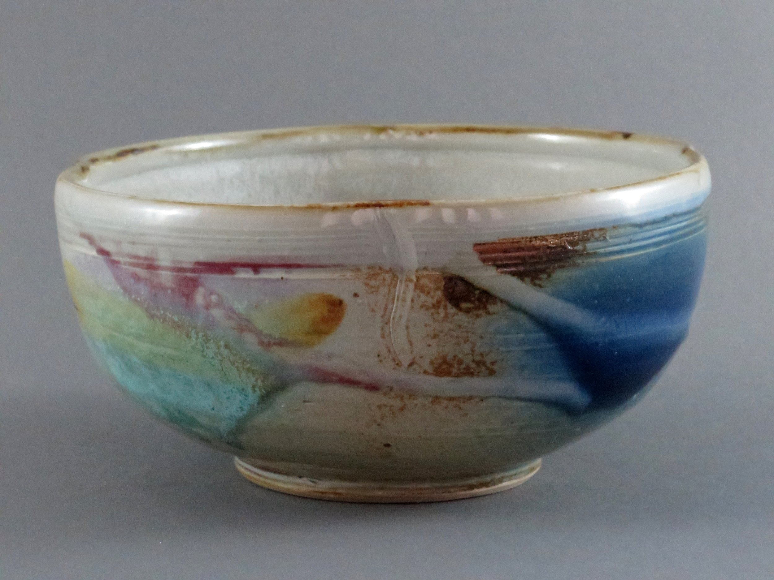 Serving bowl with blue & turquoise
