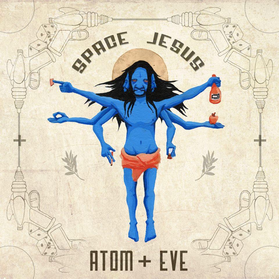 Space Jesus Atom + Eve Album Art - acrylic, ink, digital