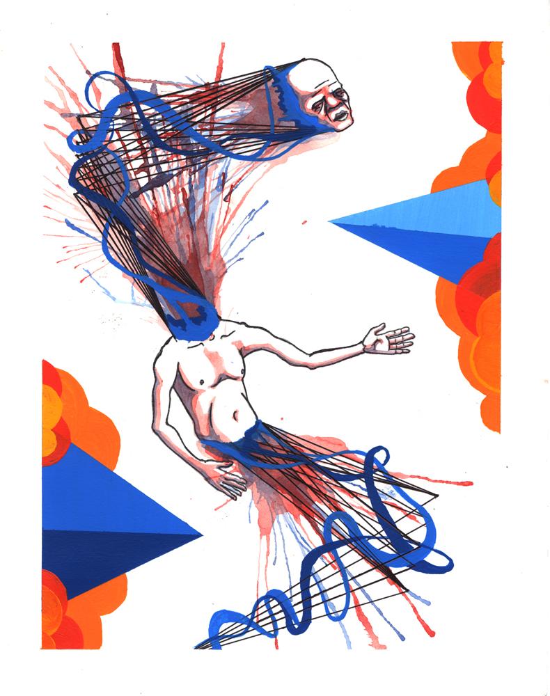 Torn - watercolor, acrylic, ink