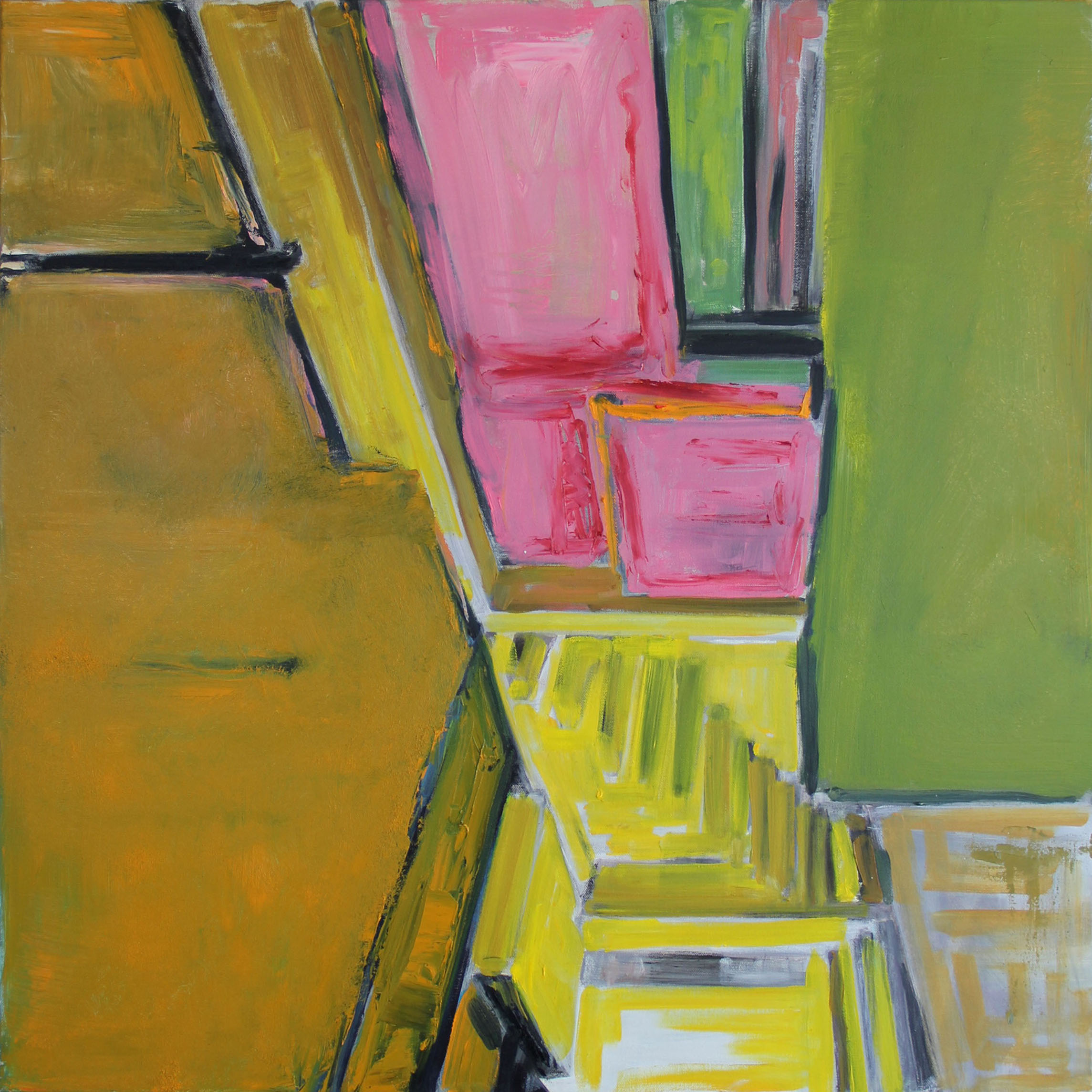 "Pink and Green 30"" x 30"". Oil on Canvas"