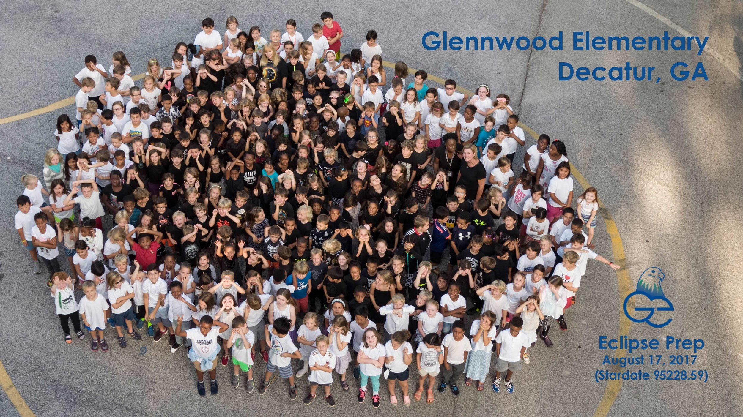 Glennwood students mirrored the solar eclipse. Drone photo by Glennwood parent, Soren Christiansen.  Soren@skyseevideo.com