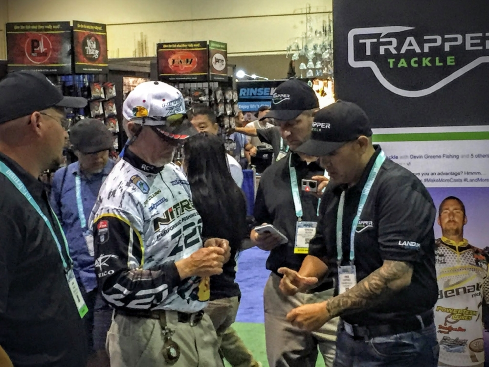"Legend and former Bassmaster Classic winner, Rick Clunn spending time with former ELITE SERIES Angler Vince Hurtado at this years 2016 ICAST in Orlando Florida.  Rick and Vince were discussing the innovation and design concept of Trapper Tackle's Drop Shot / Live Bait hook that won ""best in show"" for terminal tackle."