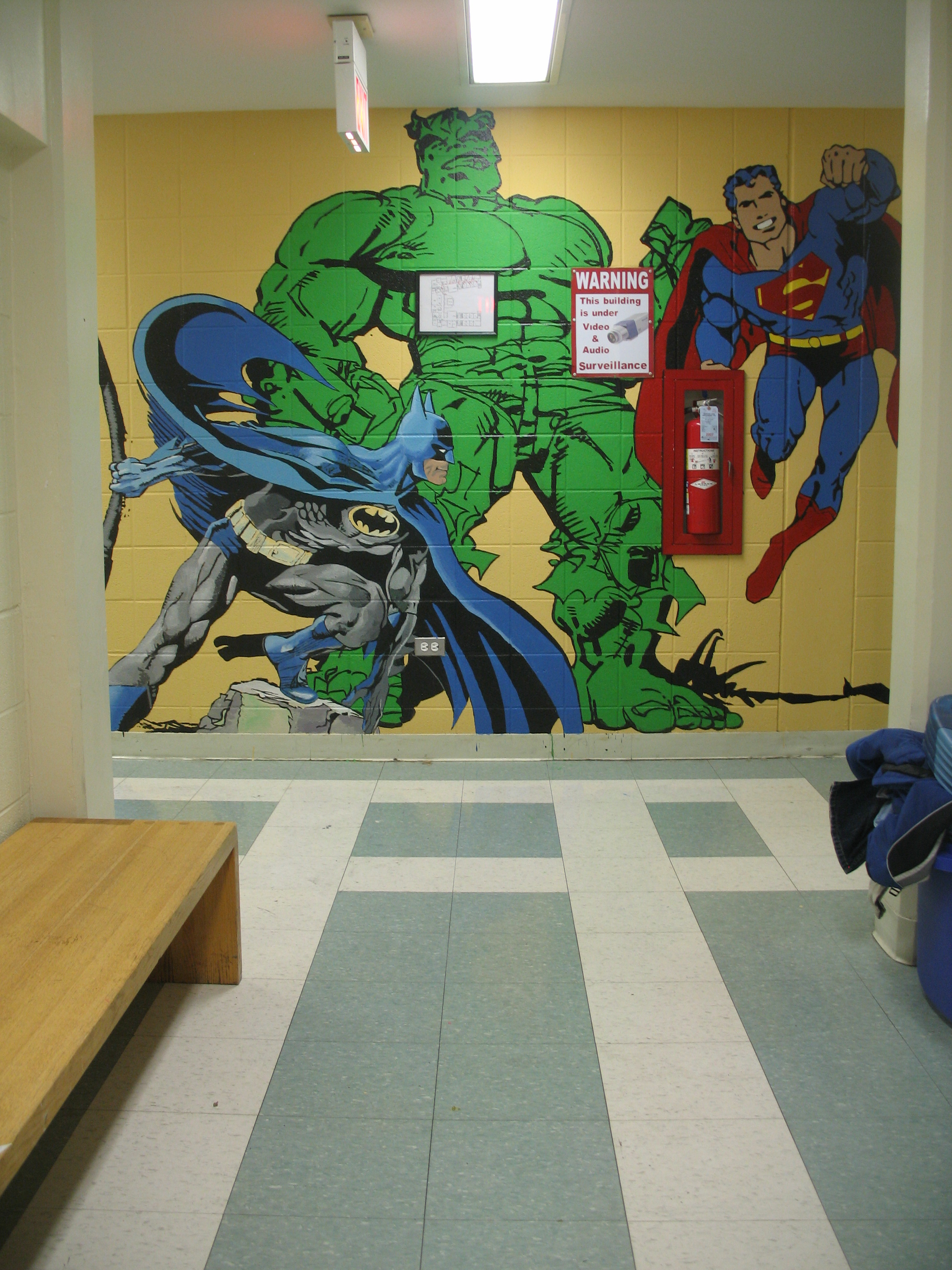 The Superheroes mural at Rice Child And Family Center