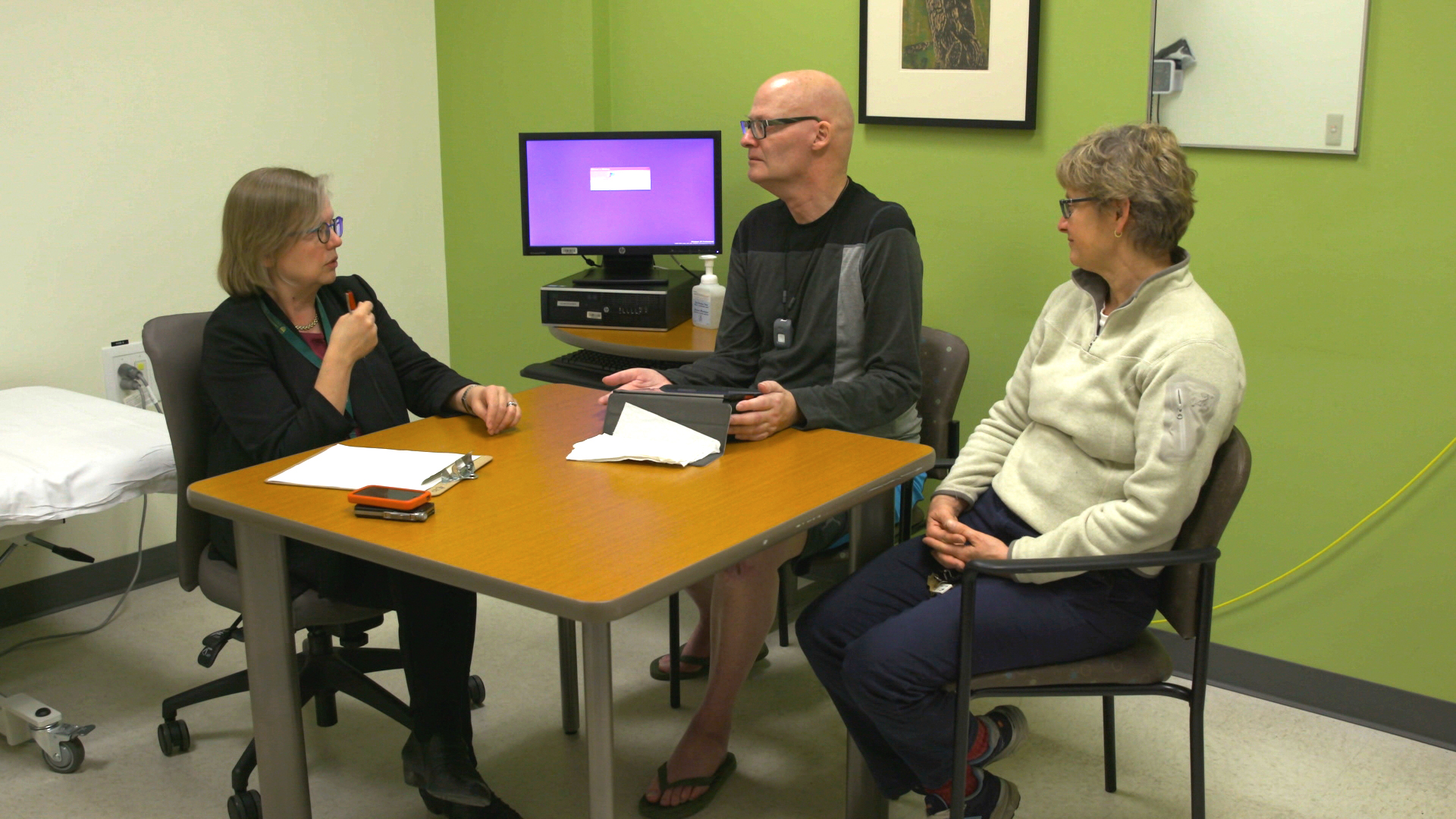 L to R:  Dr. Wendy Johnston, John Tuckwell, ALS patient and sister Cathy Tuckwell