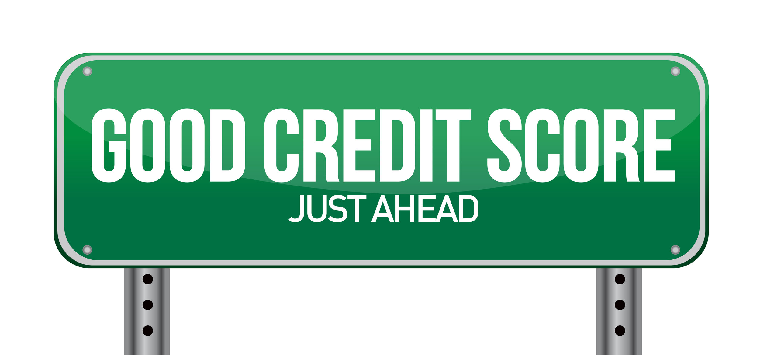 """Illustrated highway sign reading: """"Good Credit Score Just Ahead"""""""