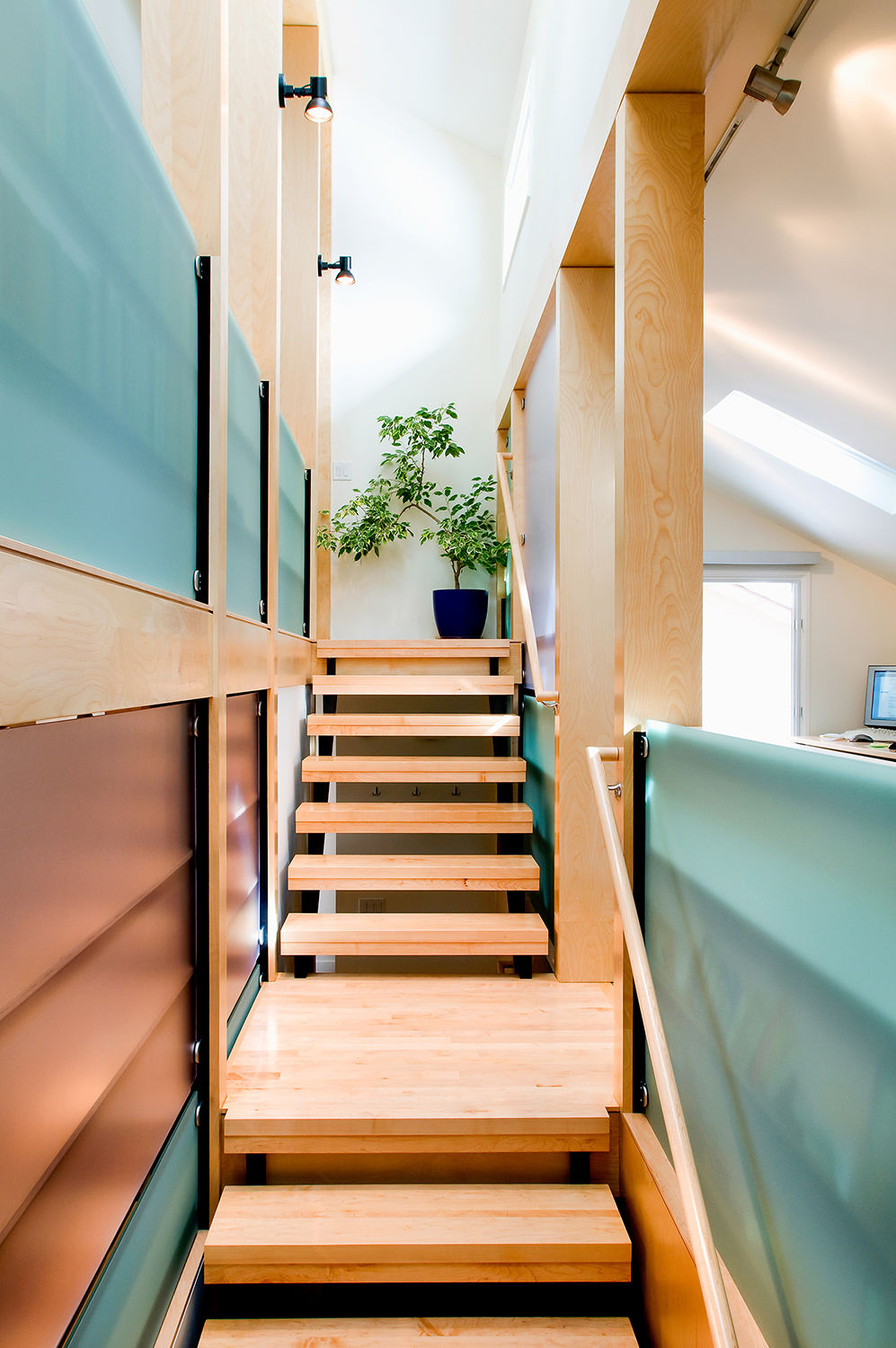 stair with resin panels