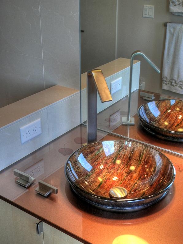 custom glass sink bowl, Master Bath