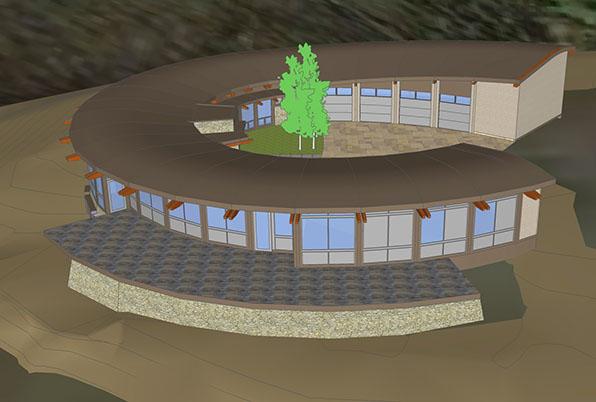 computer model image, courtyard