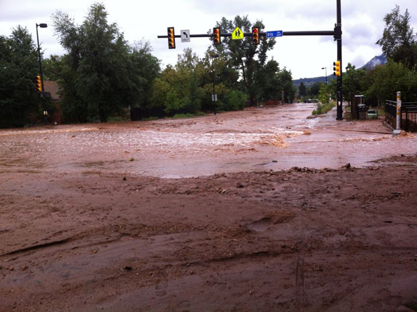 Broadway and Iris, Boulder flood