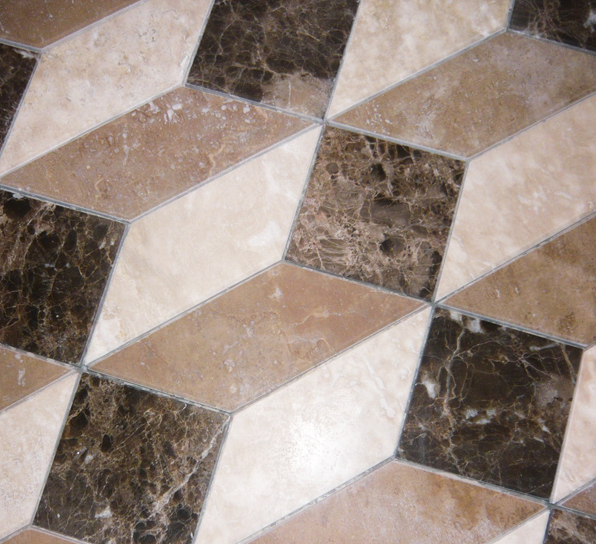 emperador marble, nocce and durango travertine, 3D cube pattern