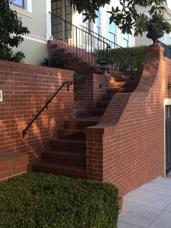 San Francisco steps, brick, multiple flights