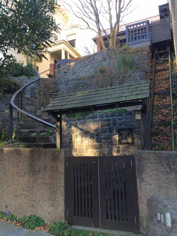 San Francisco steps, stone, multiple flights, with gate and funicular