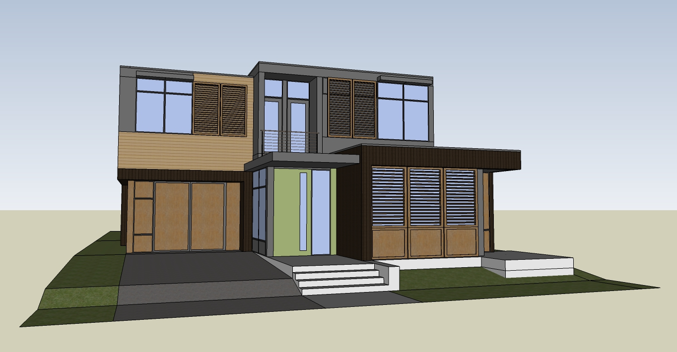 front elevation, computer model image, Southeast Portland house, by M. Gerwing Architects, Boulder, Colorado