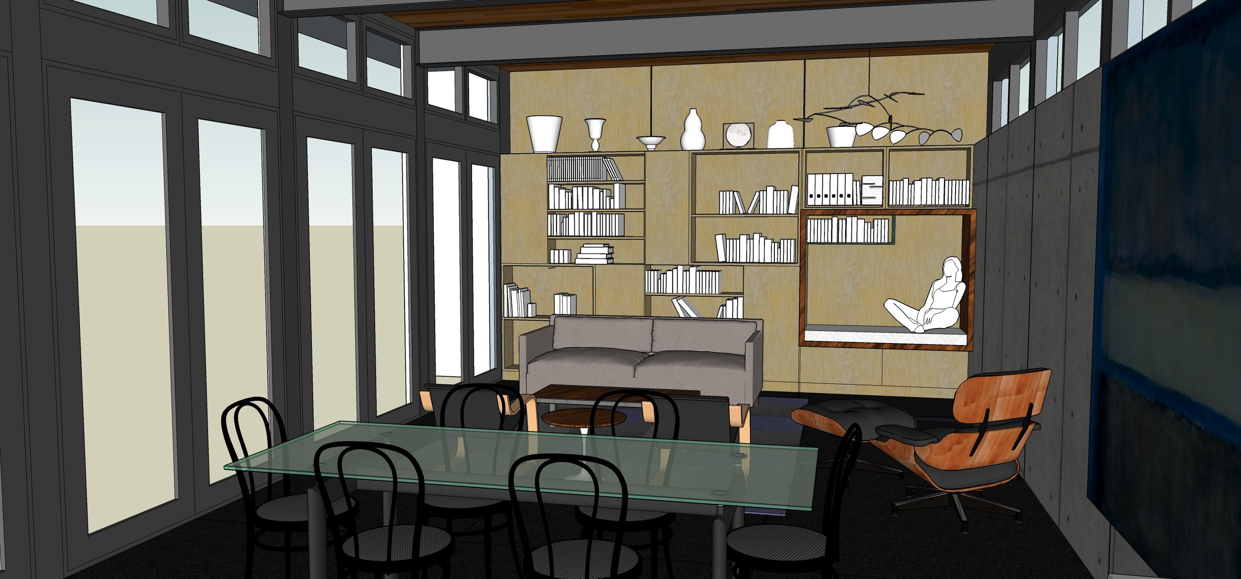 Living and Dining room image, Southeast Portland house, by M. Gerwing Architects, Boulder, Colorado