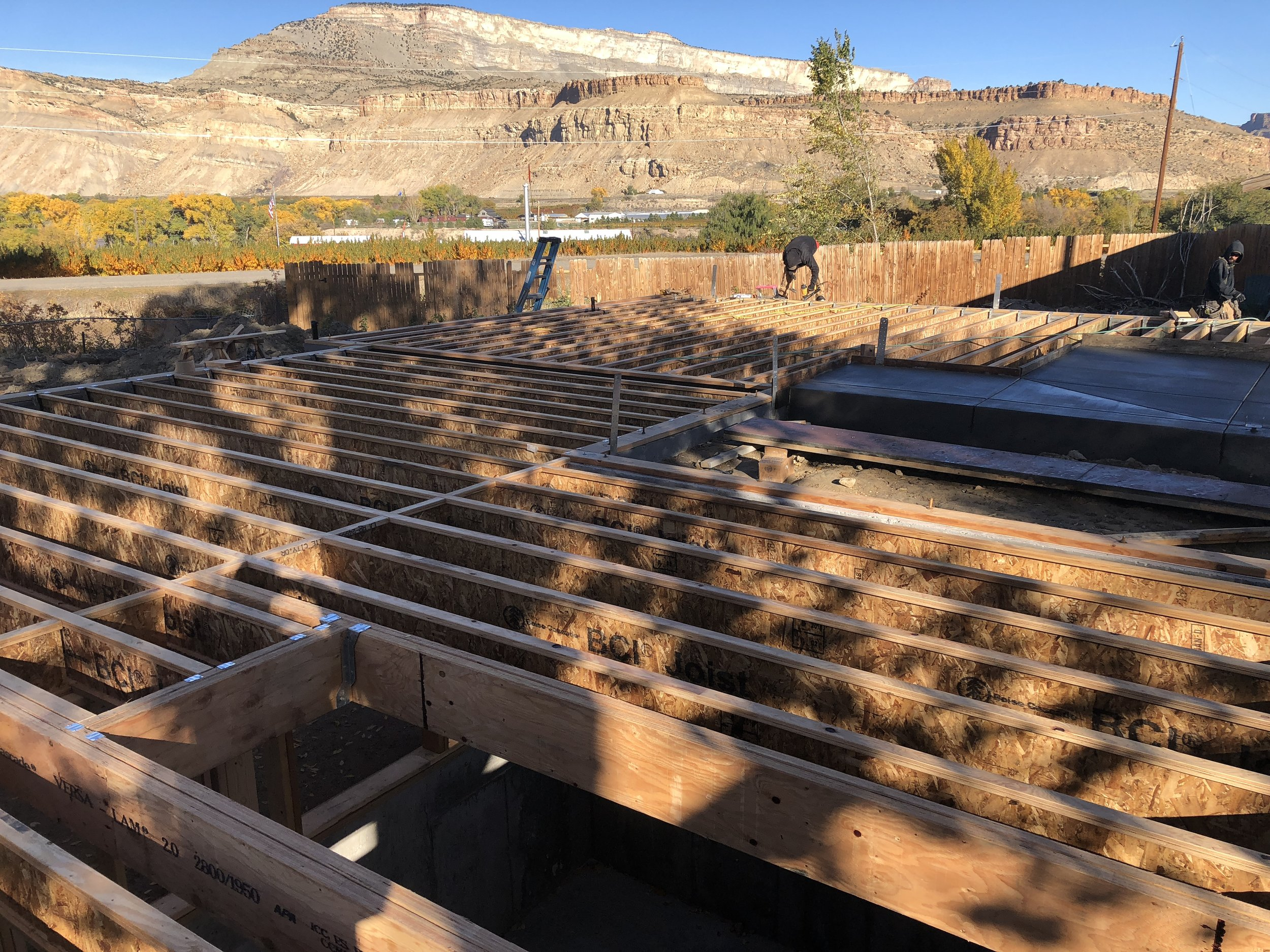main level floor framing being installed in Palisade, Colorado