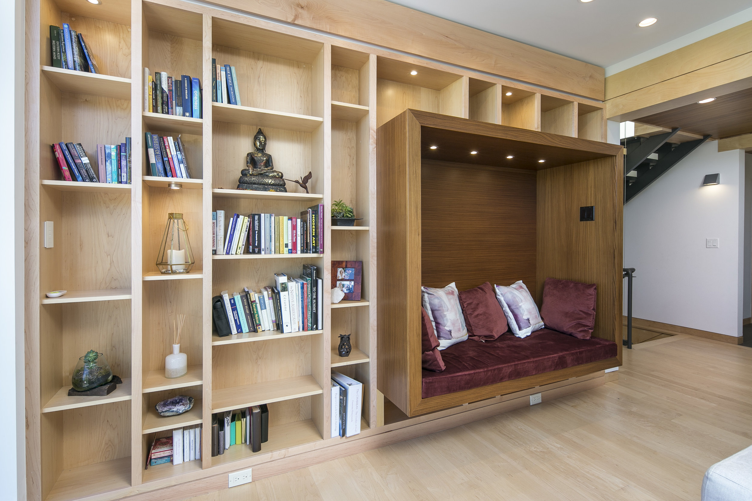 image of reading nook in living room, upper Vassar Drive house project