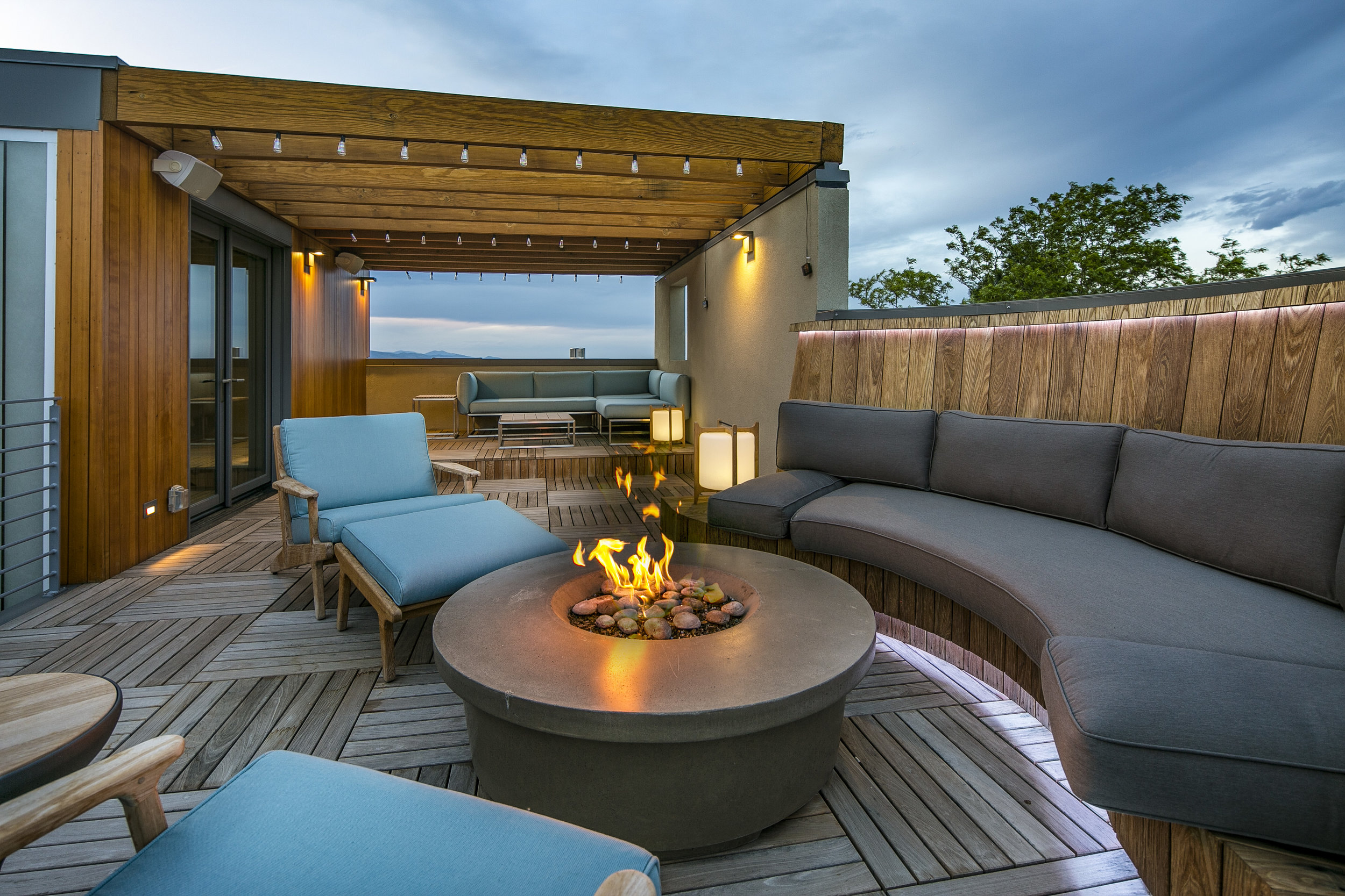 upper terrace with fire pit, upper Vassar Drive house project