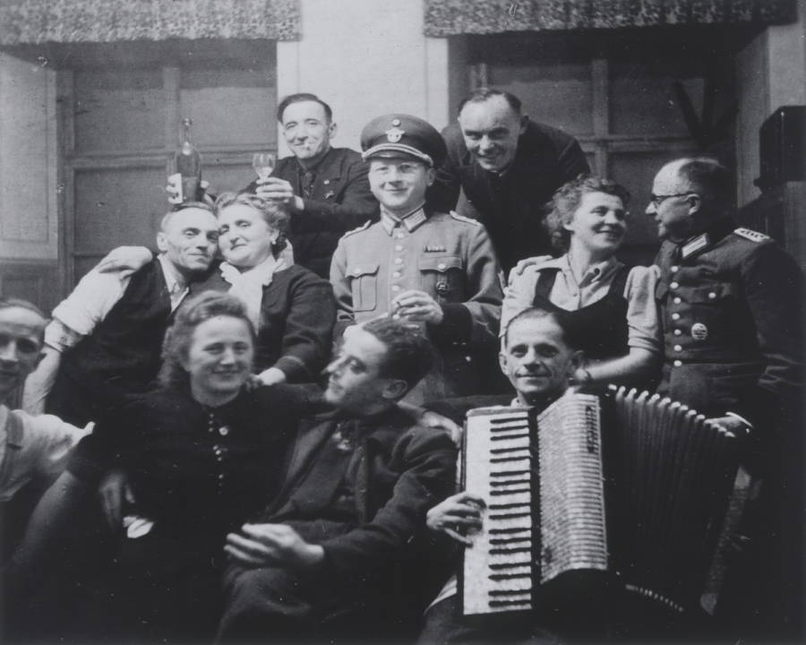 """Nazi psychiatrists, pictured celebrating after a day of murdering people they deemed unworthy of living, used """"religious madness"""" as a rationale for euthanizing Jehovah's Witnesses and other religious minorities as a part of the T-4 Program."""