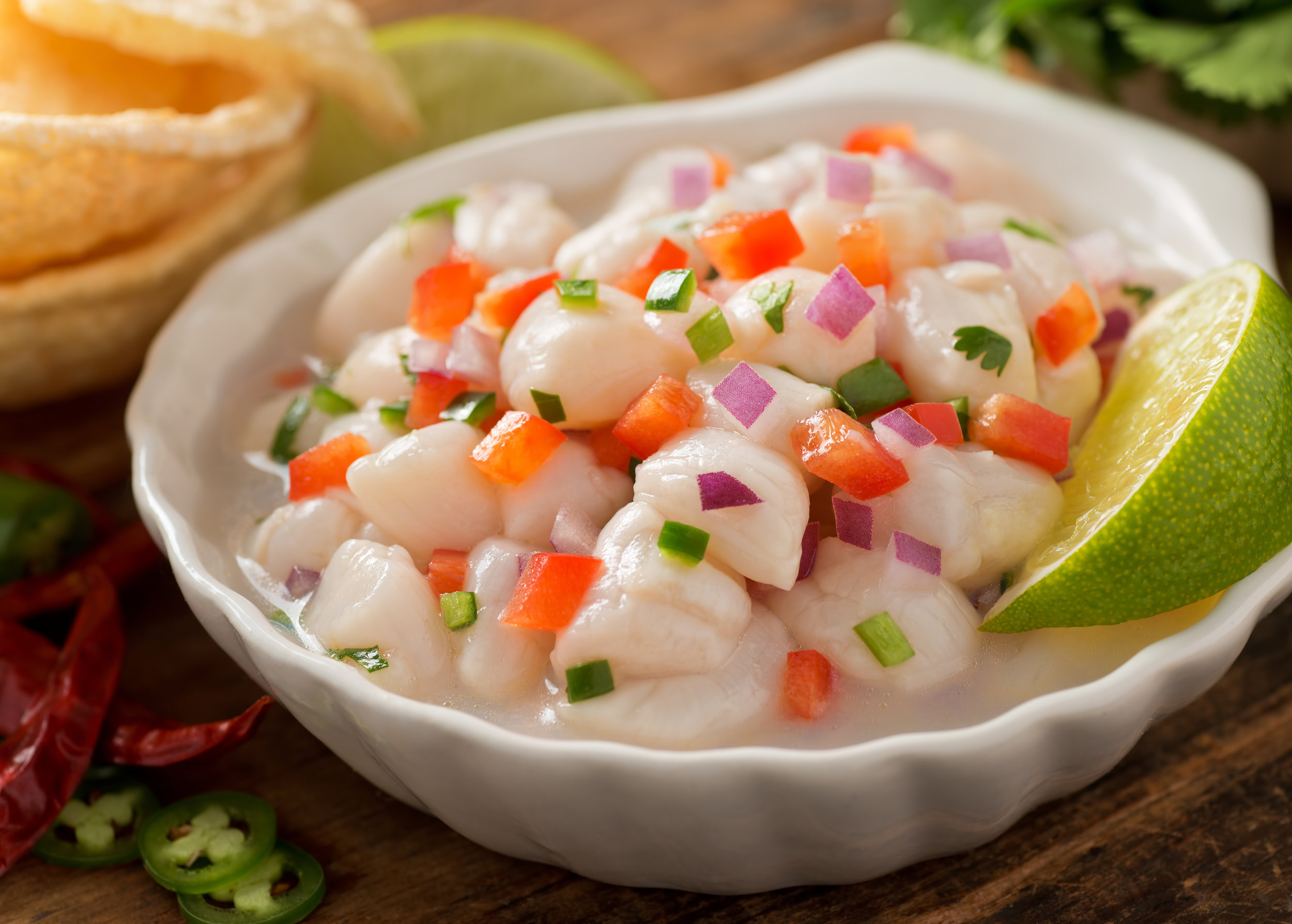 Ceviche is fish marinated with citrus juice