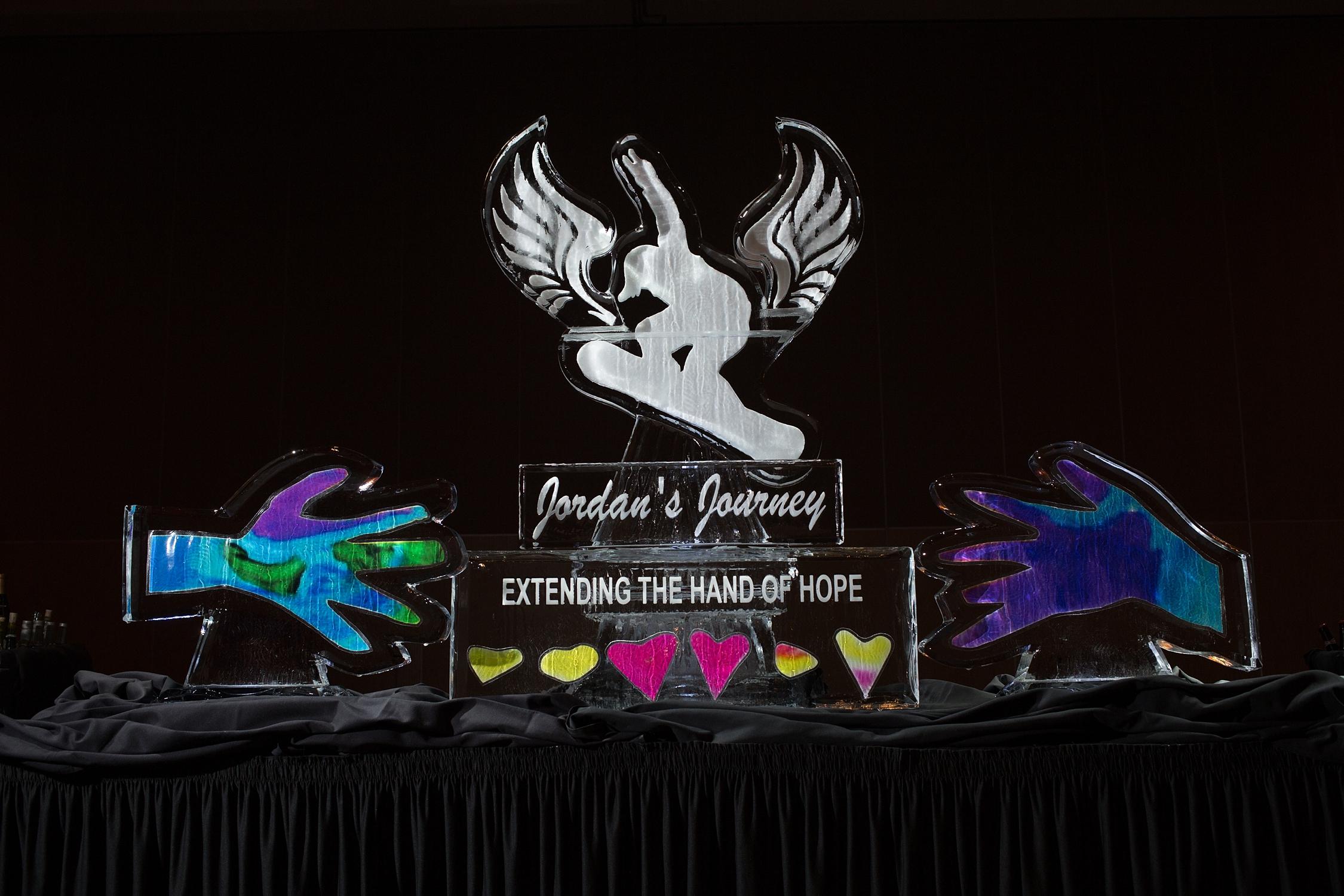Custom Ice Sculpture with logo for fundraiser gala Jordan's Journey 2017 - Kate Lauren Studios