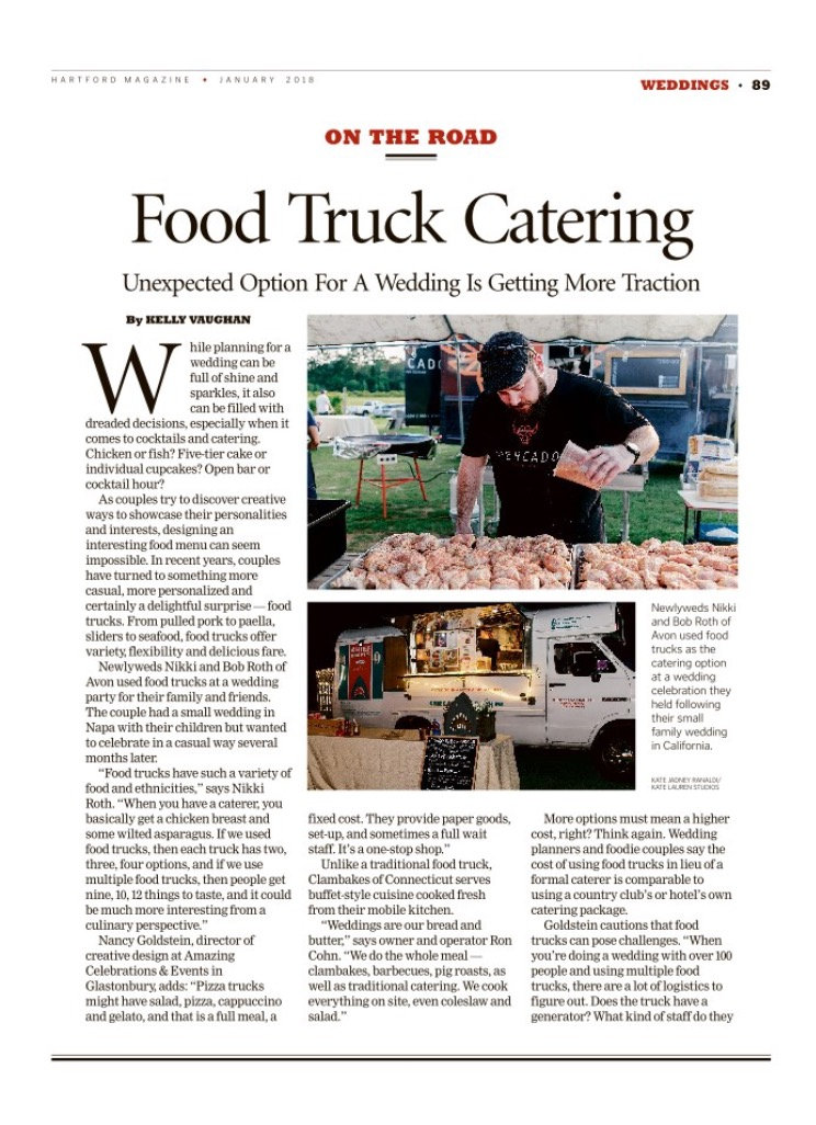 Hartford Magazine Food Truck Weddings in Connecticut