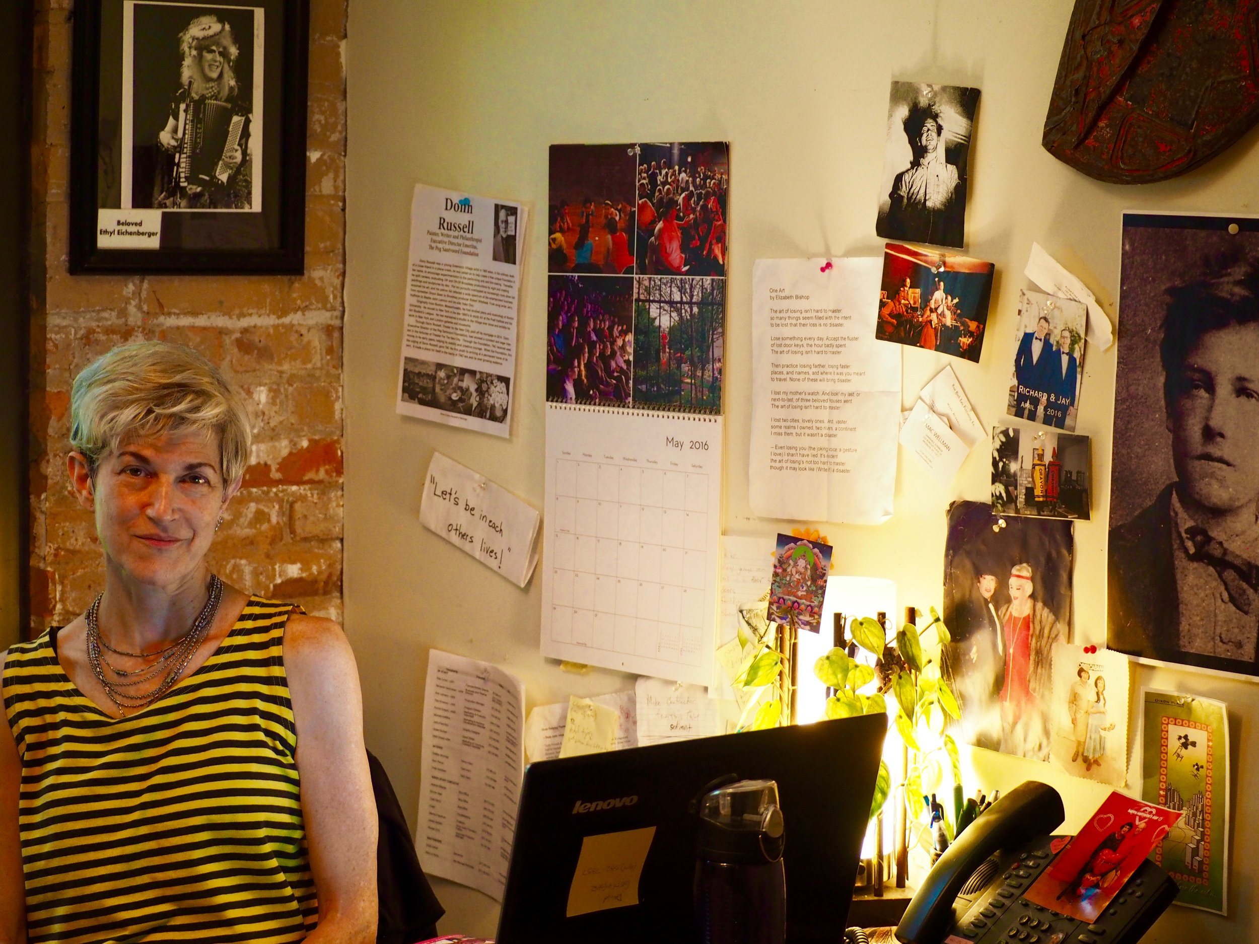 Ellie Covan in her domain, Dixon Place. Photograph: Adrian Brune
