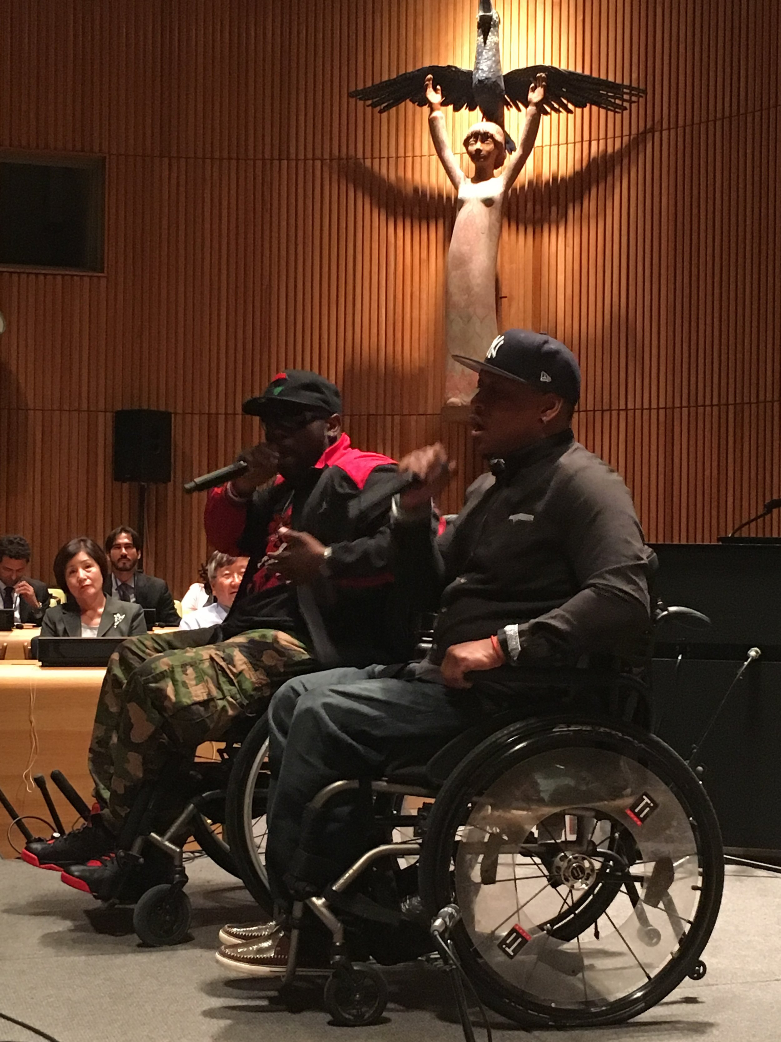 4 Wheel City perform at the United Nations. Photograph: Adrian Brune