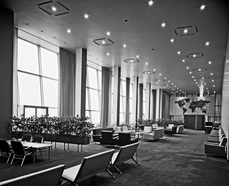 Early days: a view of the Delegates Lounge in 1952, the year the U.N. Headquarters opened. (Photo: UN Photo/Walter Ethelbach)