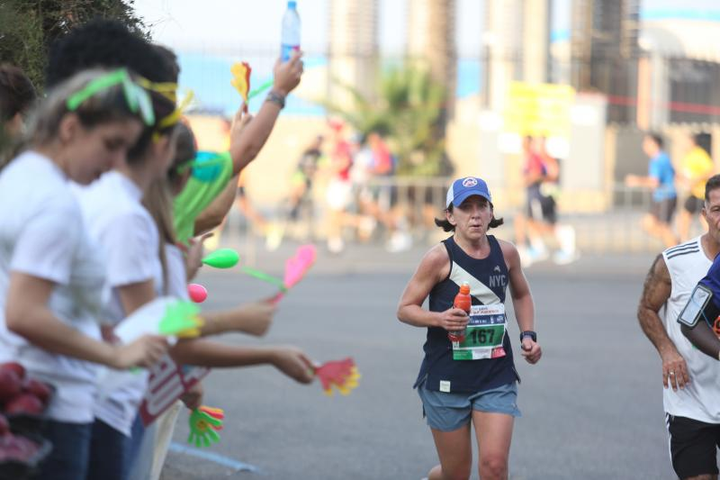 The author running in the Beirut Marathon.