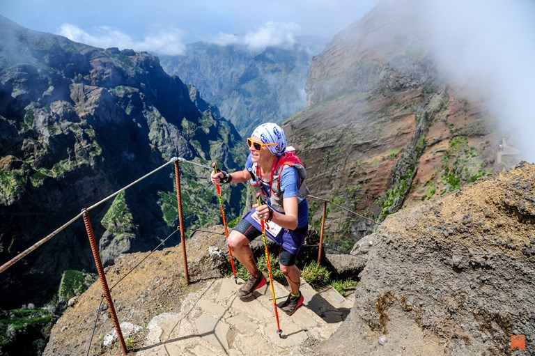 Case runs up the Madeira Island Ultra Trail in 2017, three months after a life-threatening fall in the Italian Alps.  COURTESY OF STEPHANIE CASE