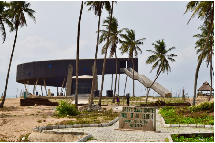 Workers labor steadily on the half-finished 'Eko Theatre', one of six coastal venues designed by the firm Eko Atlantic to bring tourism and entertainment to Badagry and its sister villages across Lagos state.