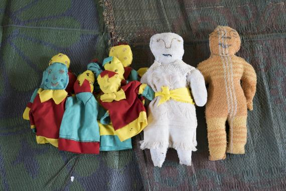 Hand-knit puppets can provide children with an outlet for feelings of helplessness and present a way for them to figure out solutions to problems.