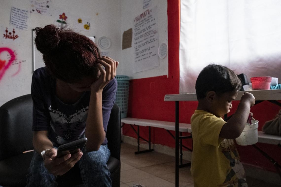 """I feel like I have never been given the opportunity to achieve my dreams. I believe I can find my future in America,"" says Maria (name changed), 17, from Honduras. She watches her young son while she checks on the status of her humanitarian visa at a UNICEF-supported shelter for unaccompanied migrant girls in Tapachula, Mexico. She says she has to stay at the shelter until she turns 18, although she is desperate to cross the U.S. border."