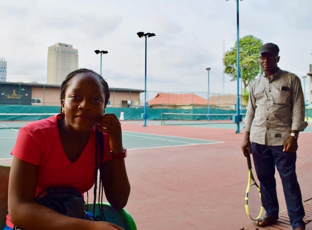 Nigeria's current top player, Oyinlomo Barakat Quadri, with her father at the Lagos Lawn Tennis Club (LLTC) in-between stints at the International Tennis Federation (ITF) training centre in Casablanca, Morocco. Like many African pros, Nahimana is waiting for her dream of sponsorship or a permanent training berth in the U.S. .