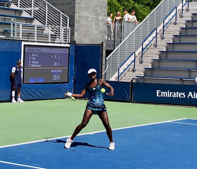 Africa's current top player, Sada Nahimana of Burundi, in the first round at the 2018 U.S. Open. She is coach Amine Ben Mahklouf's female Yannick Noah — the next big thing.