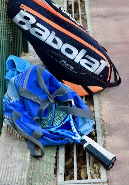 """Unlike some of his peers at the ITF/CAT High Performance Tennis Centre, who carry large multi-racquet bags, Eliakim """"Wilfried"""" Coulibaly (ITF #62) uses a simple duffle to tote his prized Babolats."""