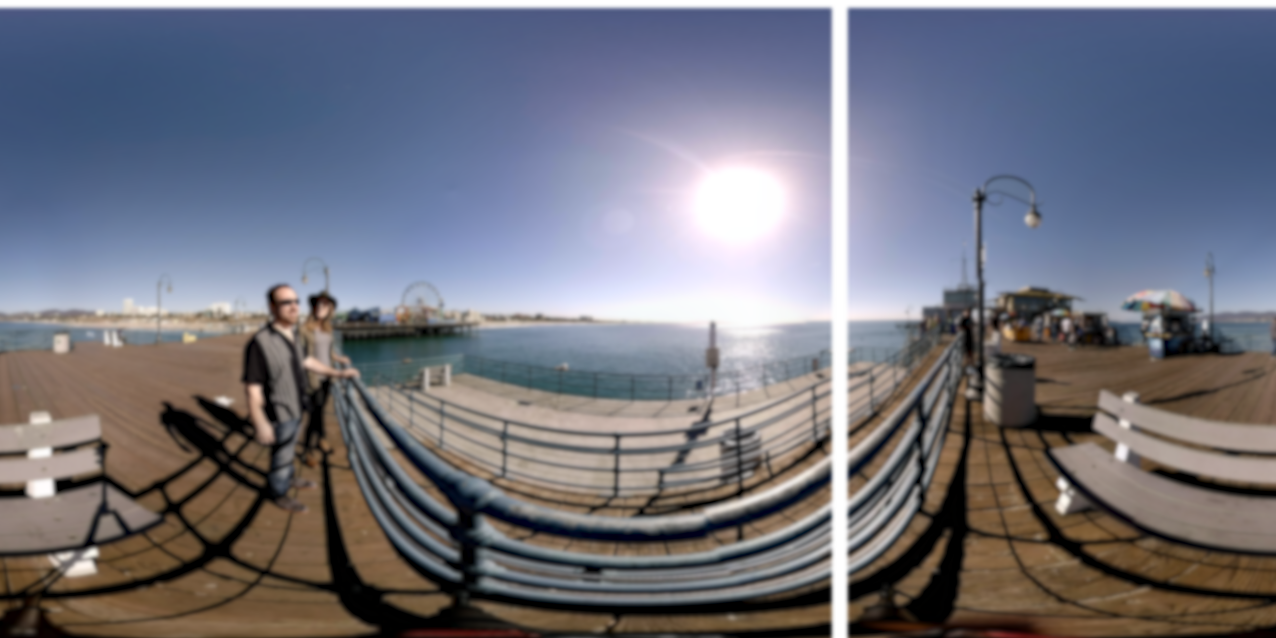 This image was blurred and then the center point was shifted to the right so you can see the line that was created when an ordinary blur filter was applied to a latlong clip.