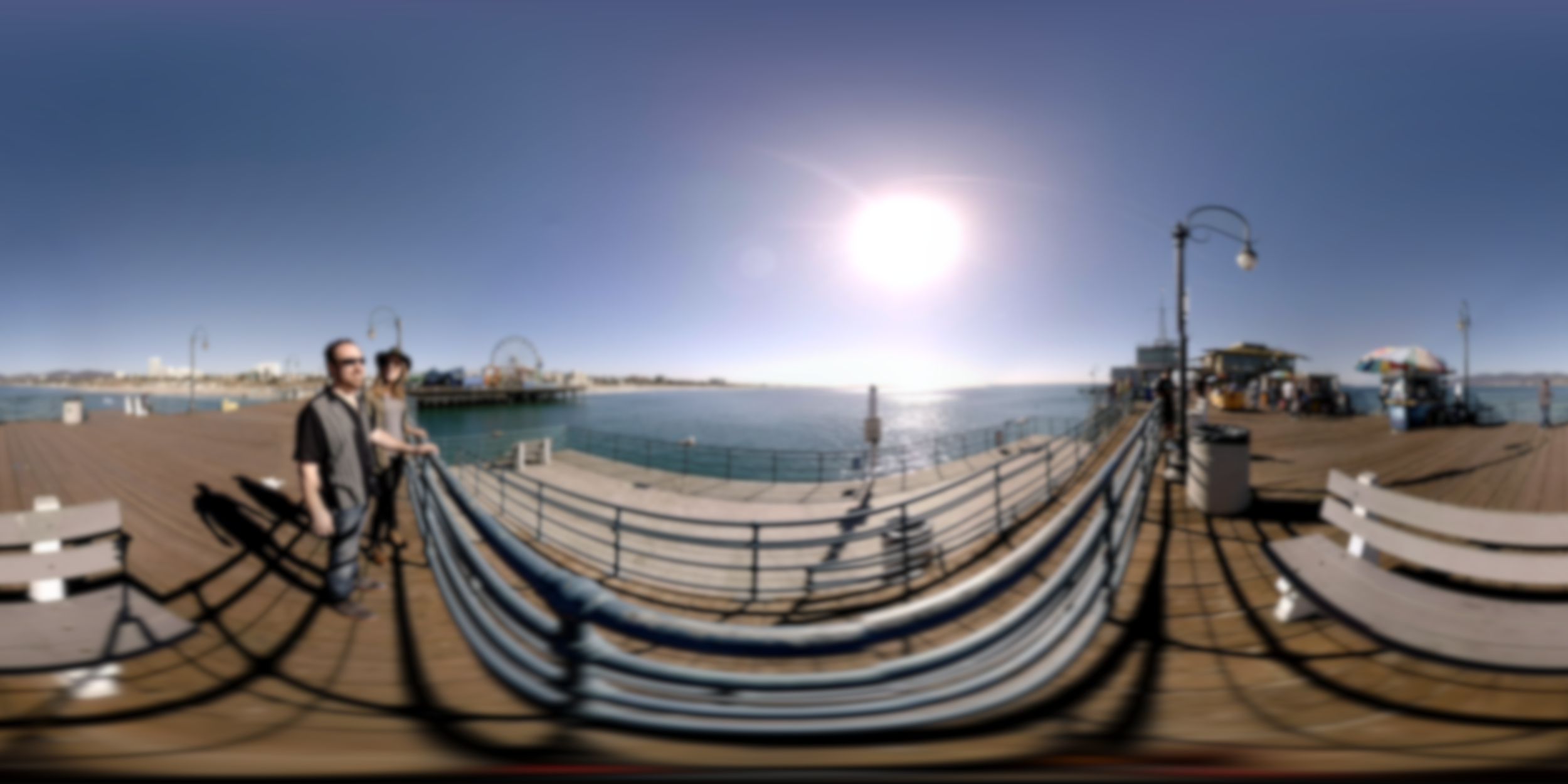 This image was blurred using a 360°-aware filter. No line appears.
